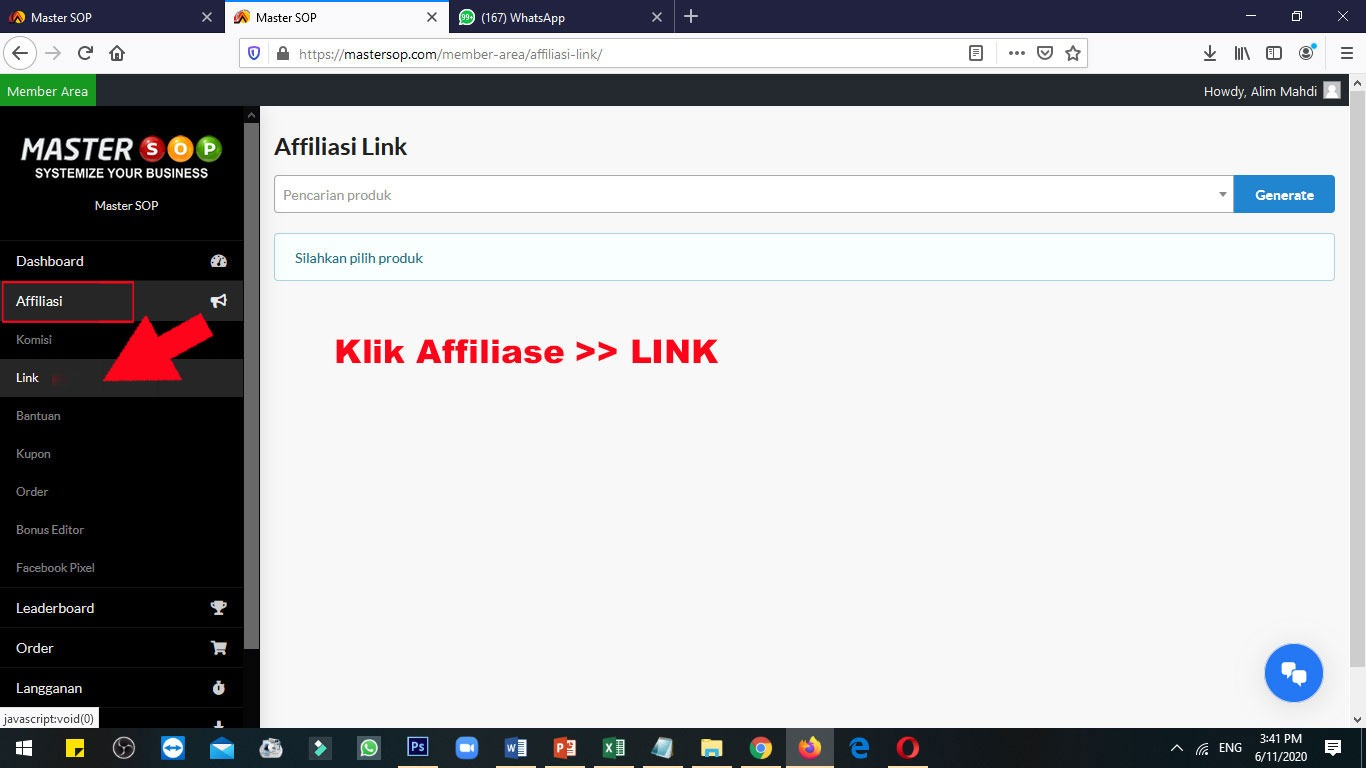 ambil link afiliasi 1